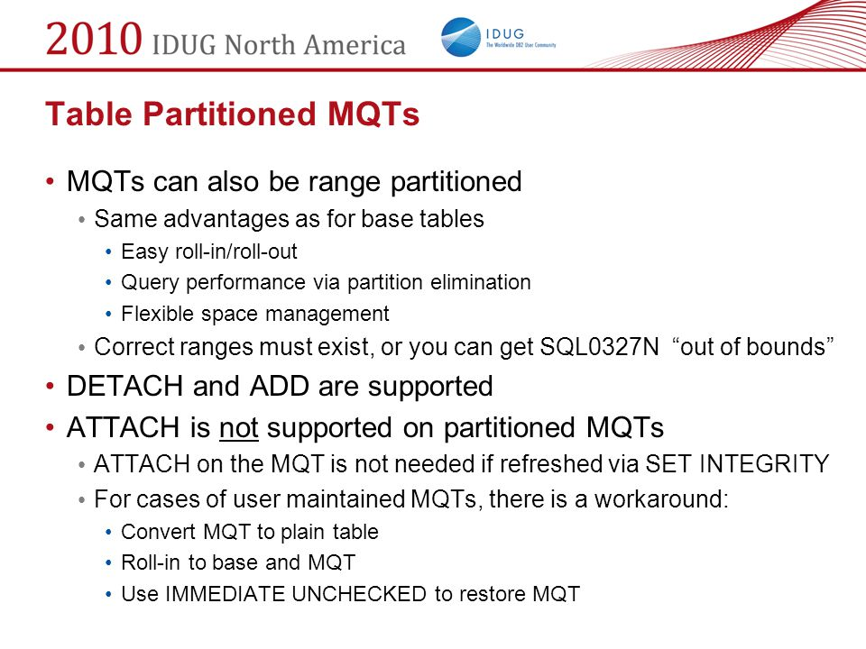 Table Partitioned MQTs