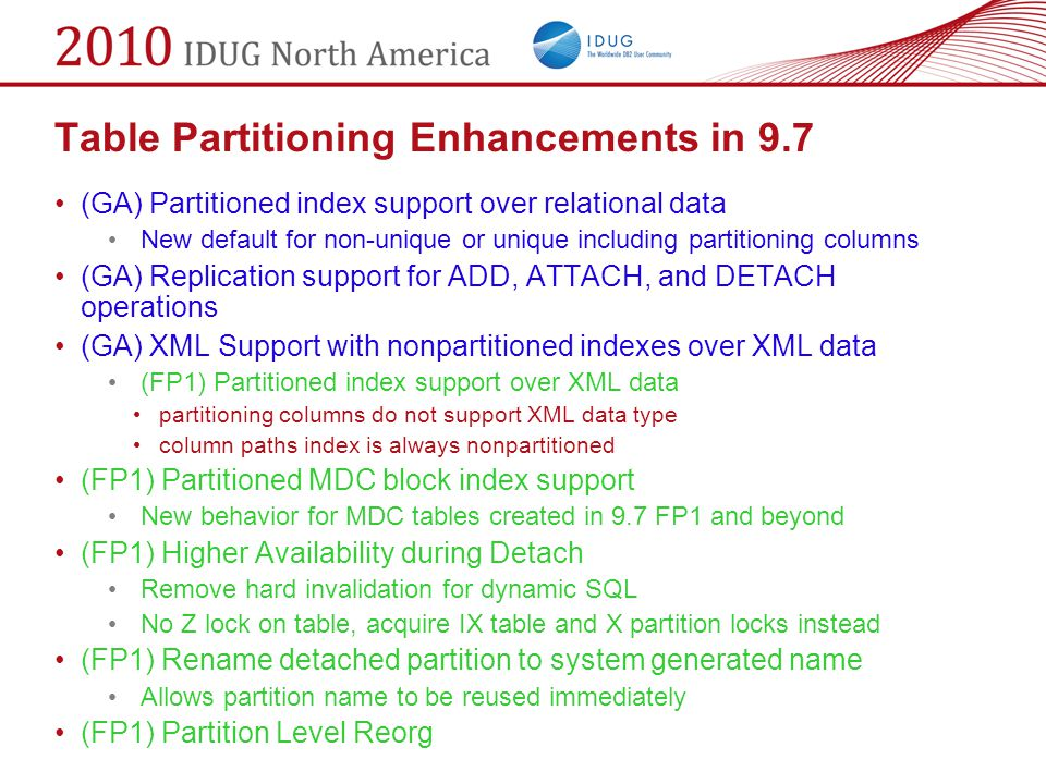 Table Partitioning Enhancements in 9.7