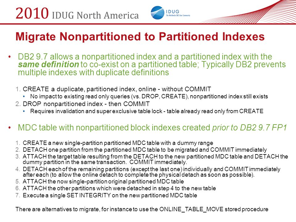 Migrate Nonpartitioned to Partitioned Indexes