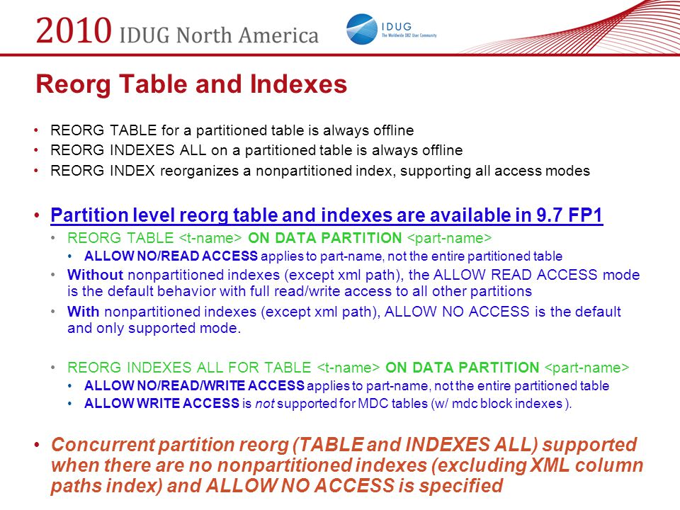 Reorg Table and Indexes