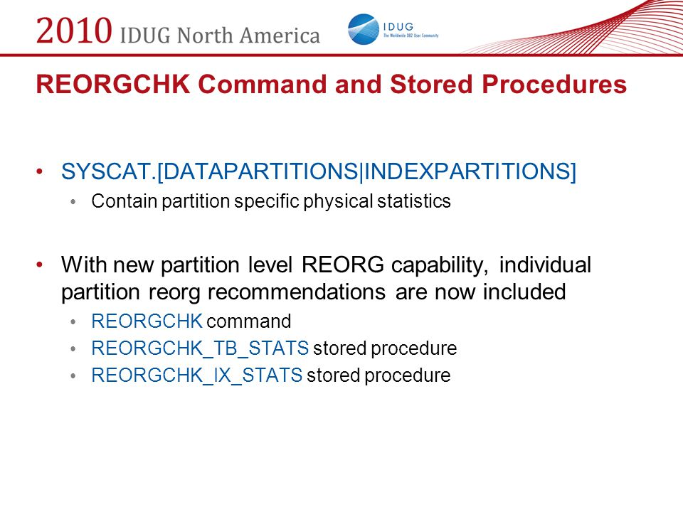 REORGCHK Command and Stored Procedures