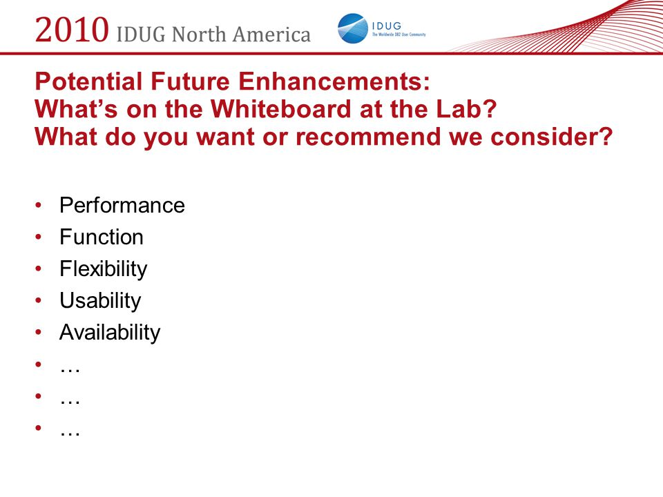 Potential Future Enhancements: What's on the Whiteboard at the Lab
