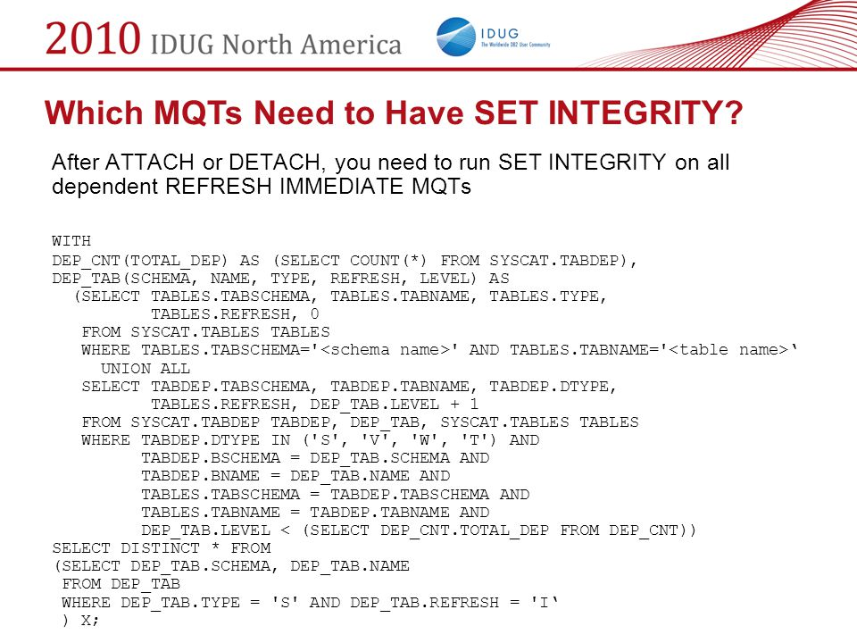 Which MQTs Need to Have SET INTEGRITY