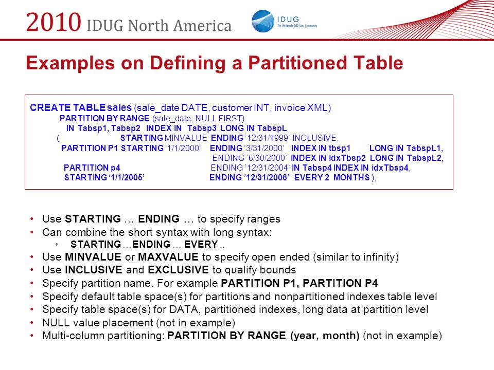 Examples on Defining a Partitioned Table