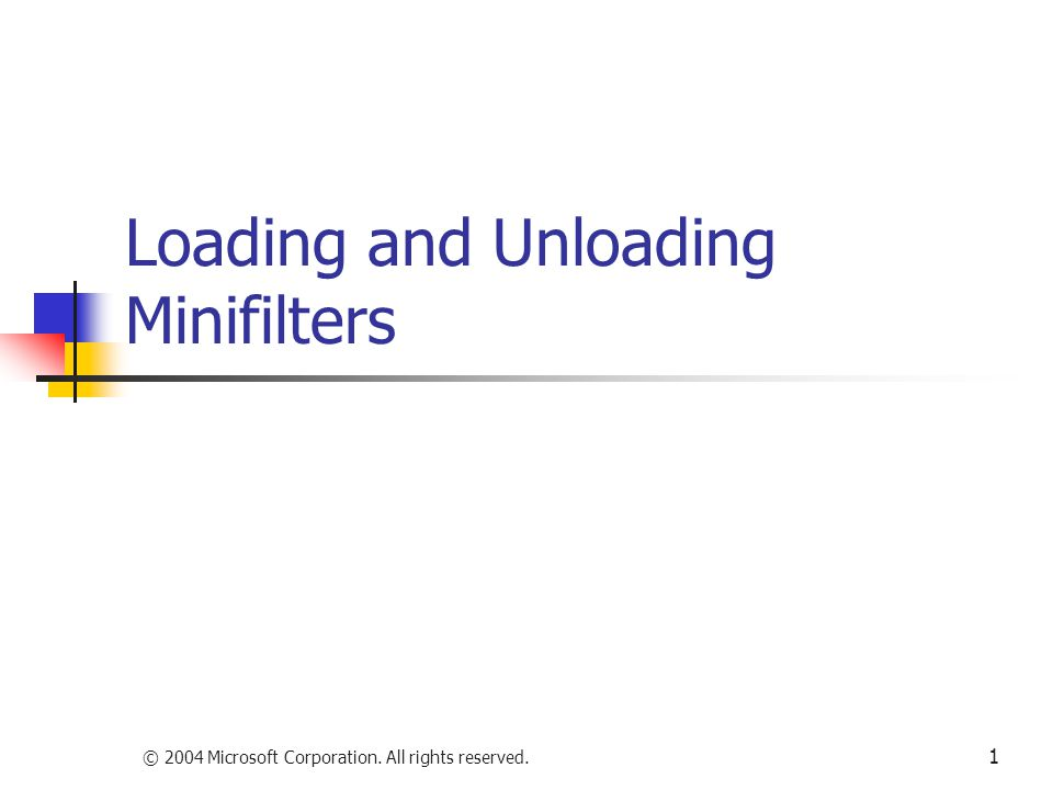 Loading and Unloading Minifilters