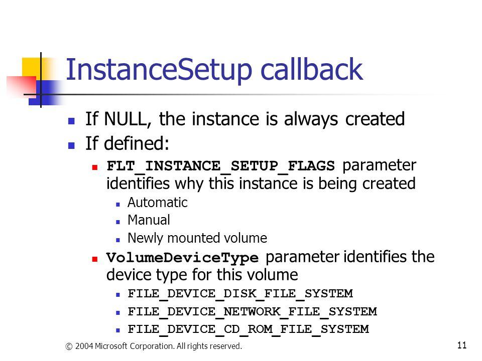 InstanceSetup callback