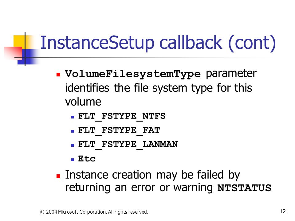 InstanceSetup callback (cont)