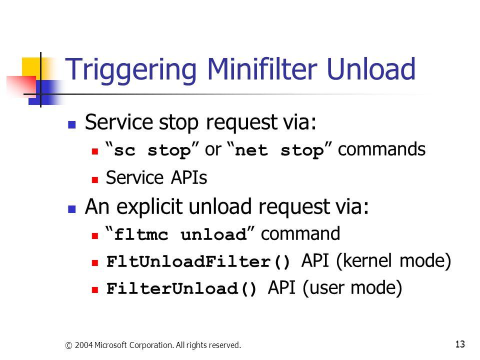 Triggering Minifilter Unload