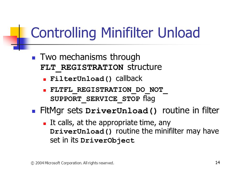Controlling Minifilter Unload