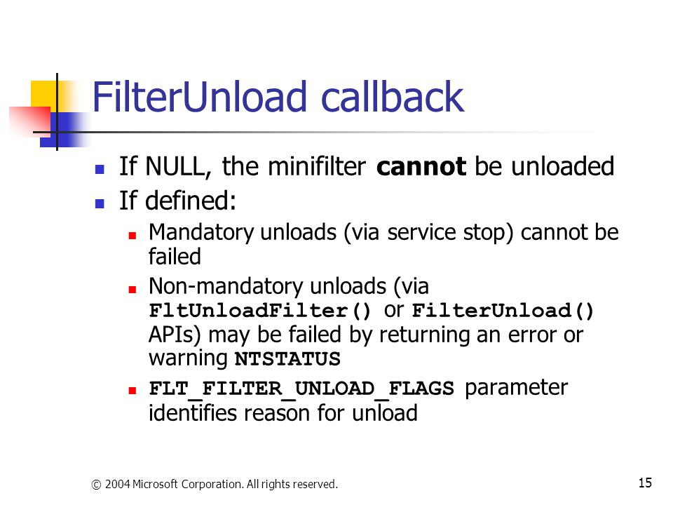 FilterUnload callback