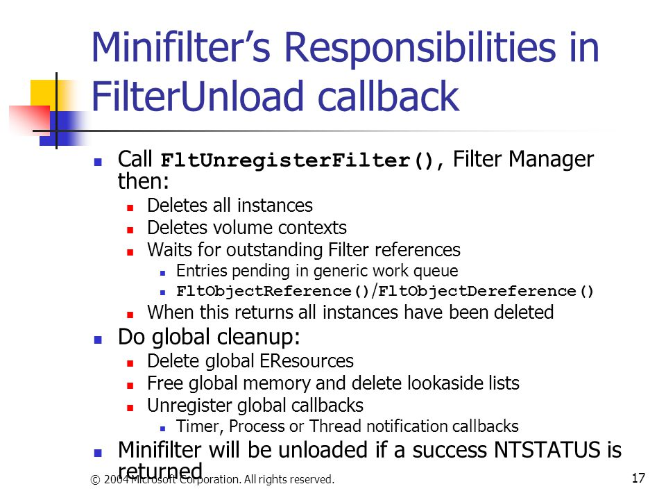 Minifilter's Responsibilities in FilterUnload callback