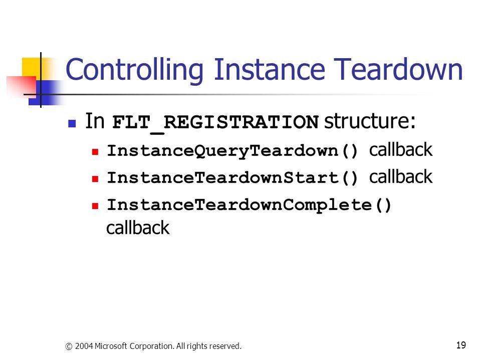 Controlling Instance Teardown