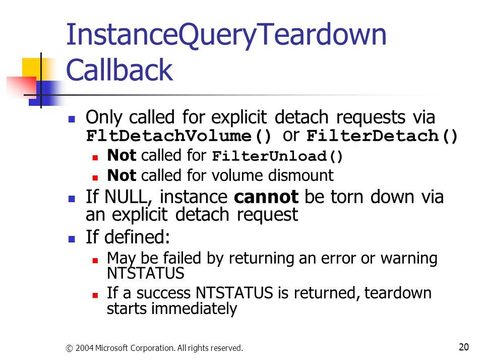 InstanceQueryTeardown Callback