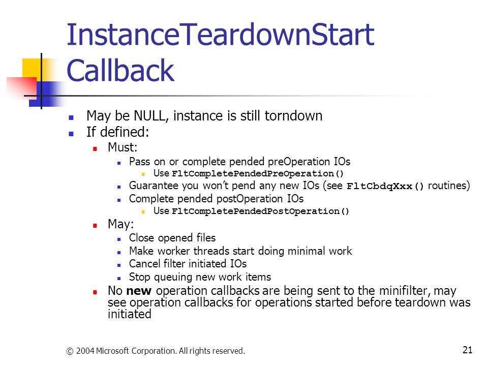 InstanceTeardownStart Callback