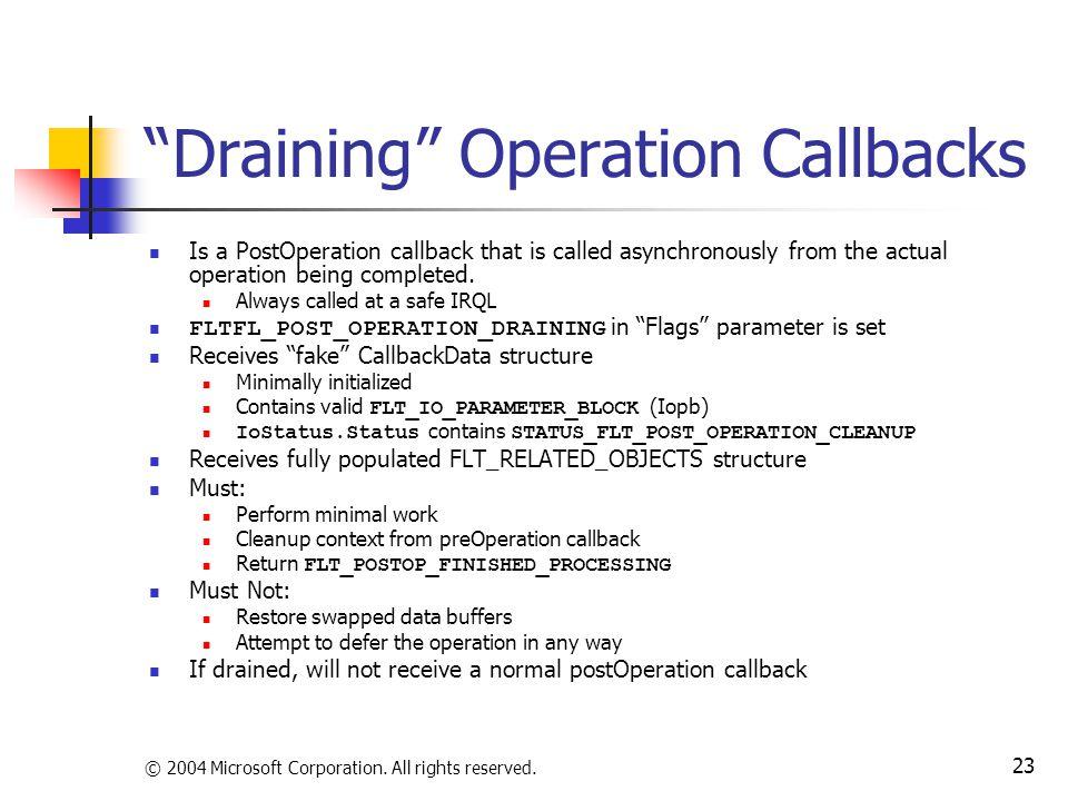 Draining Operation Callbacks