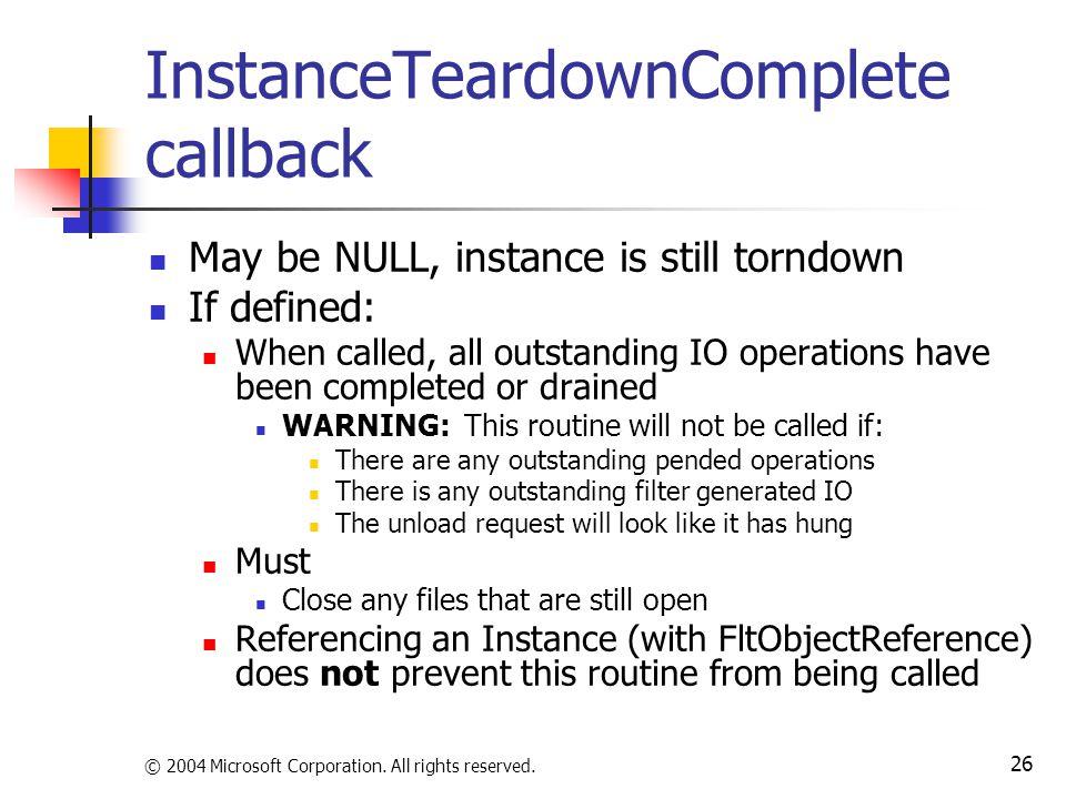 InstanceTeardownComplete callback