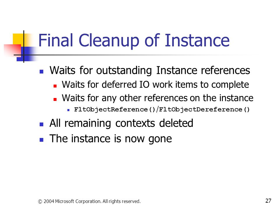 Final Cleanup of Instance