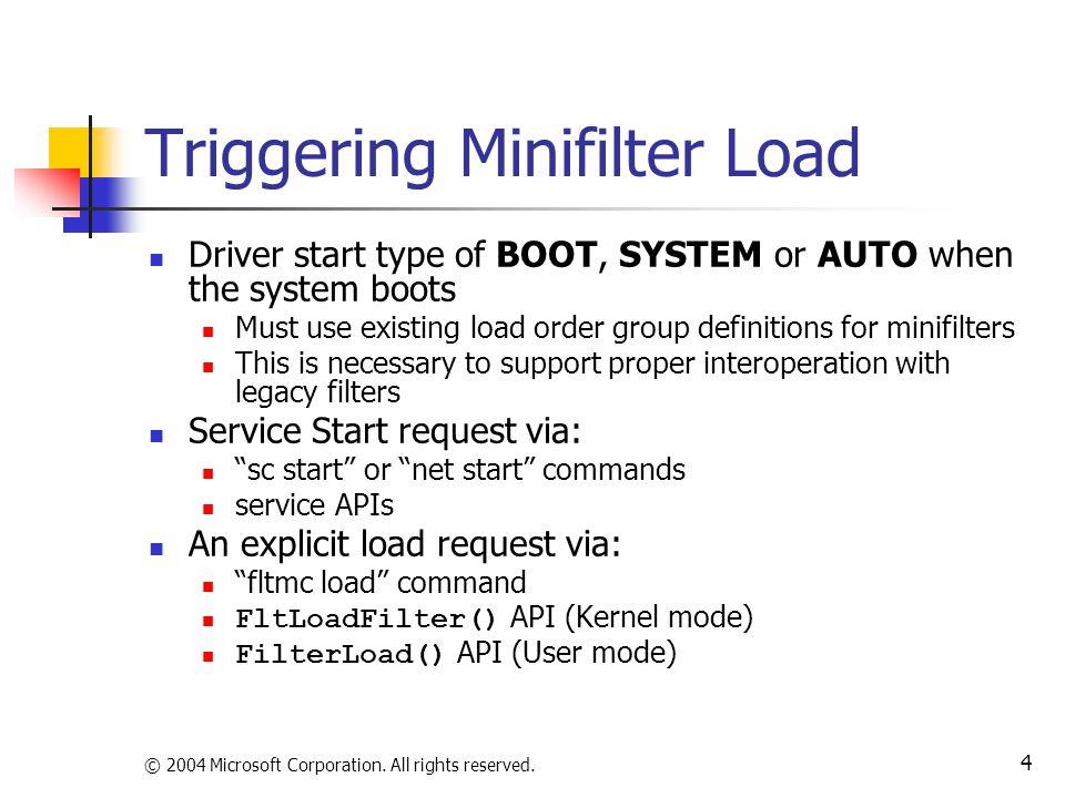 Triggering Minifilter Load