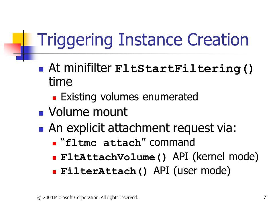 Triggering Instance Creation