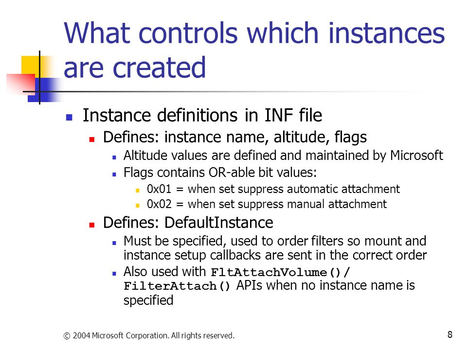 What controls which instances are created