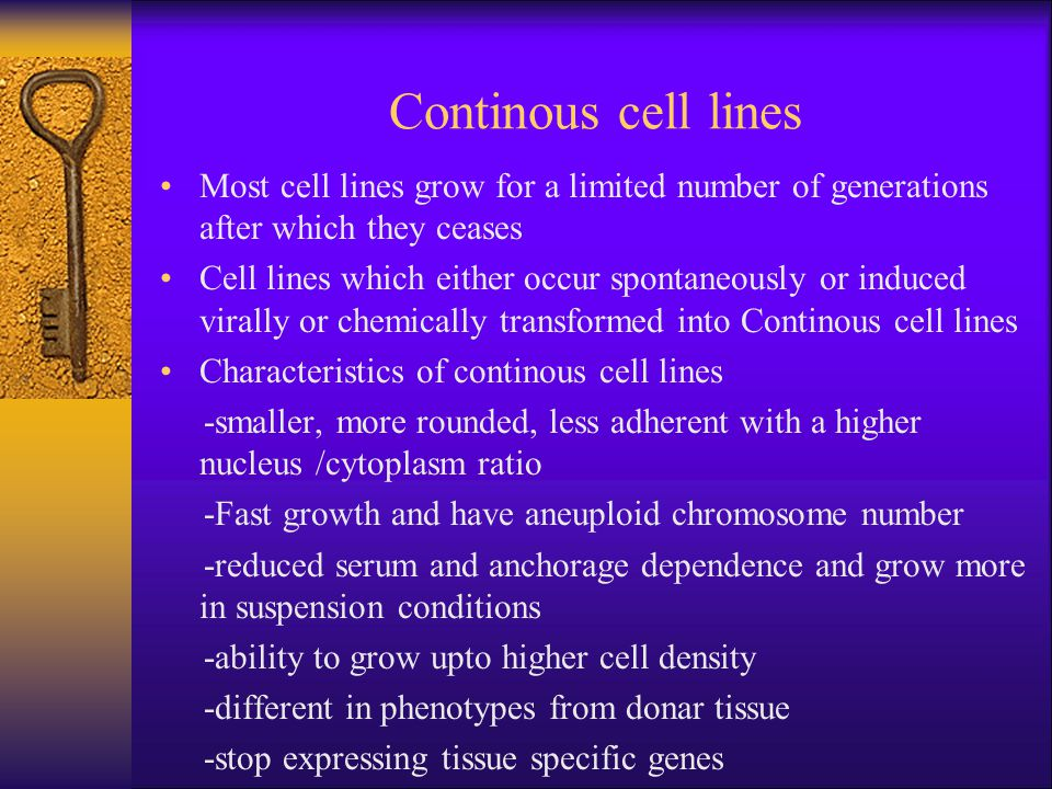 Continous cell lines Most cell lines grow for a limited number of generations after which they ceases.