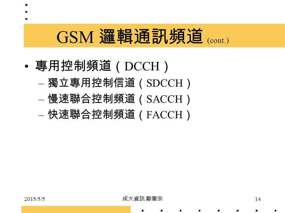 GSM 邏輯通訊頻道 (cont.) 專用控制頻道(DCCH) 獨立專用控制信道(SDCCH) 慢速聯合控制頻道(SACCH)