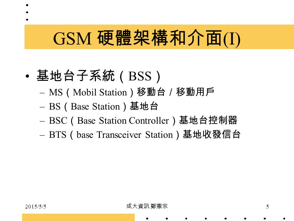 GSM 硬體架構和介面(I) 基地台子系統(BSS) MS(Mobil Station)移動台/移動用戶