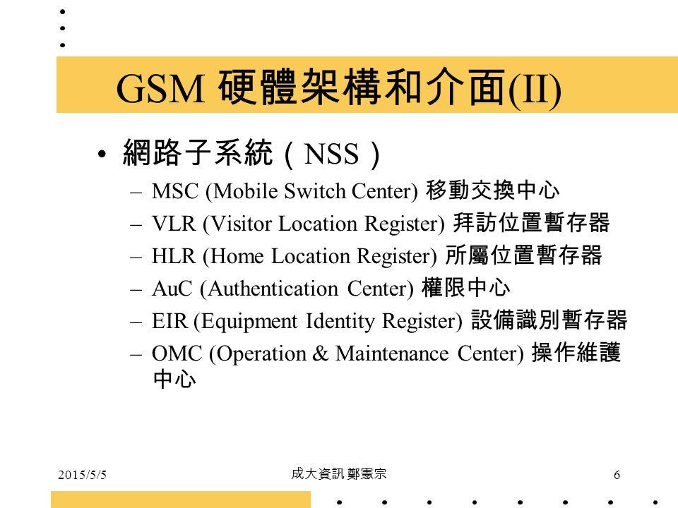 GSM 硬體架構和介面(II) 網路子系統(NSS) MSC (Mobile Switch Center) 移動交換中心