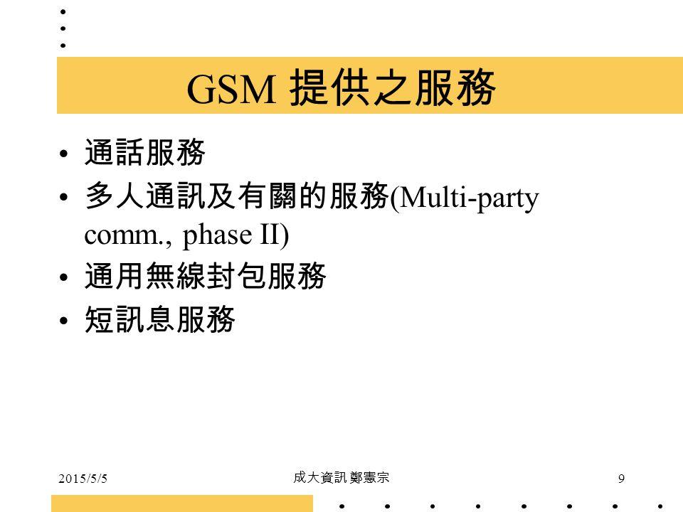 GSM 提供之服務 通話服務 多人通訊及有關的服務(Multi-party comm., phase II) 通用無線封包服務 短訊息服務