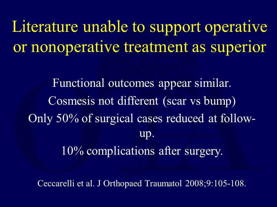 Literature unable to support operative or nonoperative treatment as superior