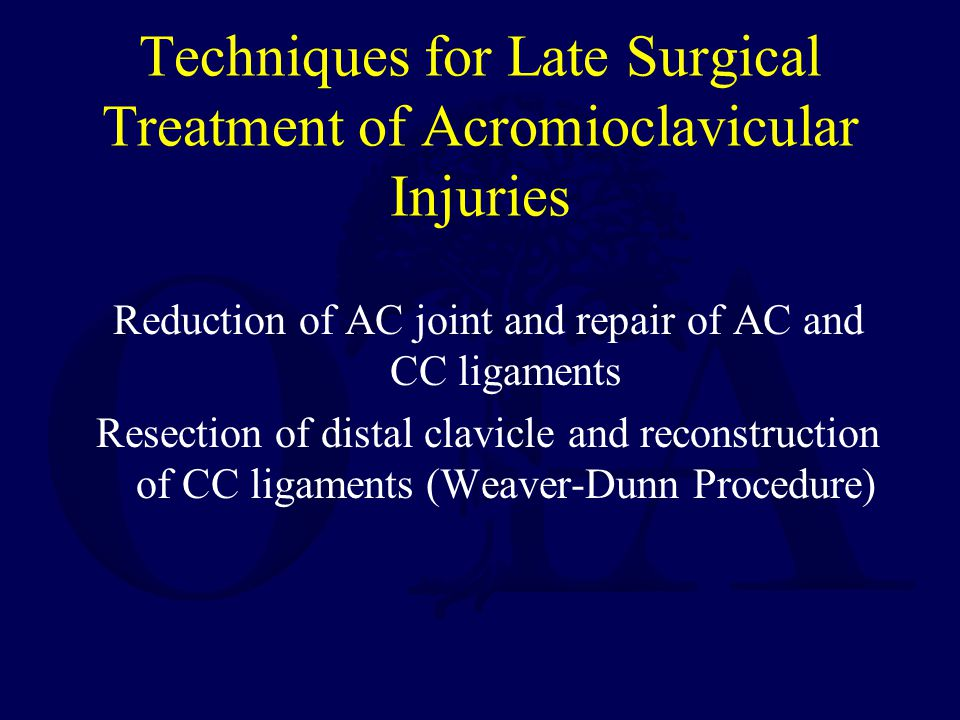 Techniques for Late Surgical Treatment of Acromioclavicular Injuries