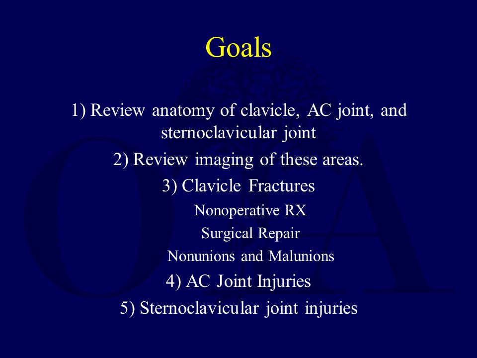 Goals 1) Review anatomy of clavicle, AC joint, and sternoclavicular joint. 2) Review imaging of these areas.