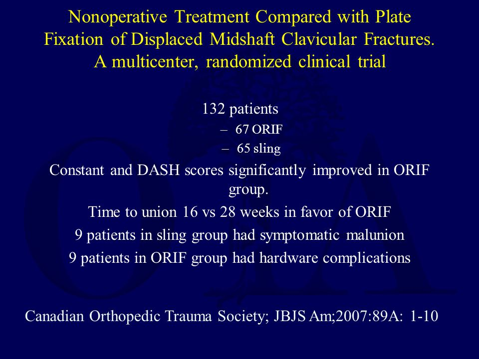 Nonoperative Treatment Compared with Plate Fixation of Displaced Midshaft Clavicular Fractures. A multicenter, randomized clinical trial