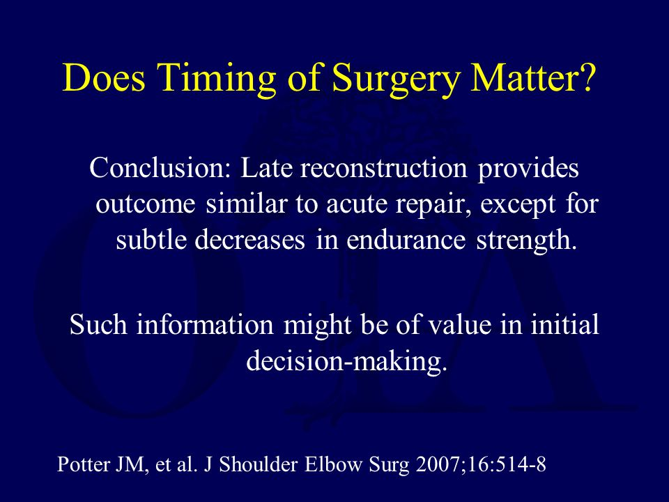 Does Timing of Surgery Matter
