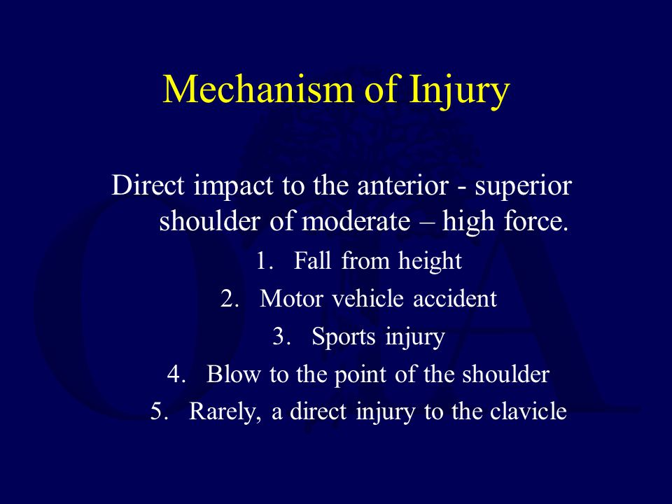 Mechanism of Injury Direct impact to the anterior - superior shoulder of moderate – high force. Fall from height.