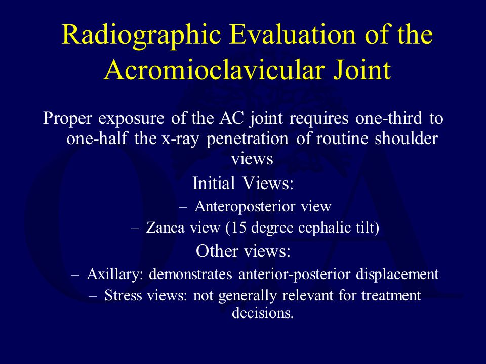 Radiographic Evaluation of the Acromioclavicular Joint