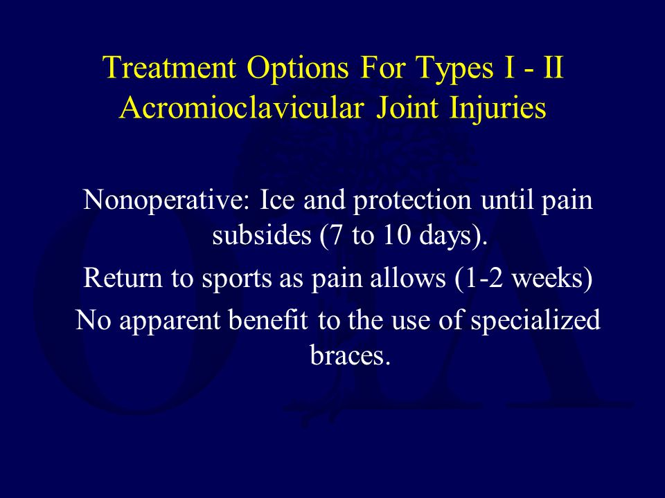 Treatment Options For Types I - II Acromioclavicular Joint Injuries
