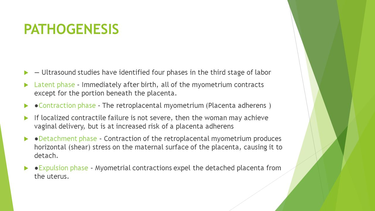 PATHOGENESIS — Ultrasound studies have identified four phases in the third stage of labor.