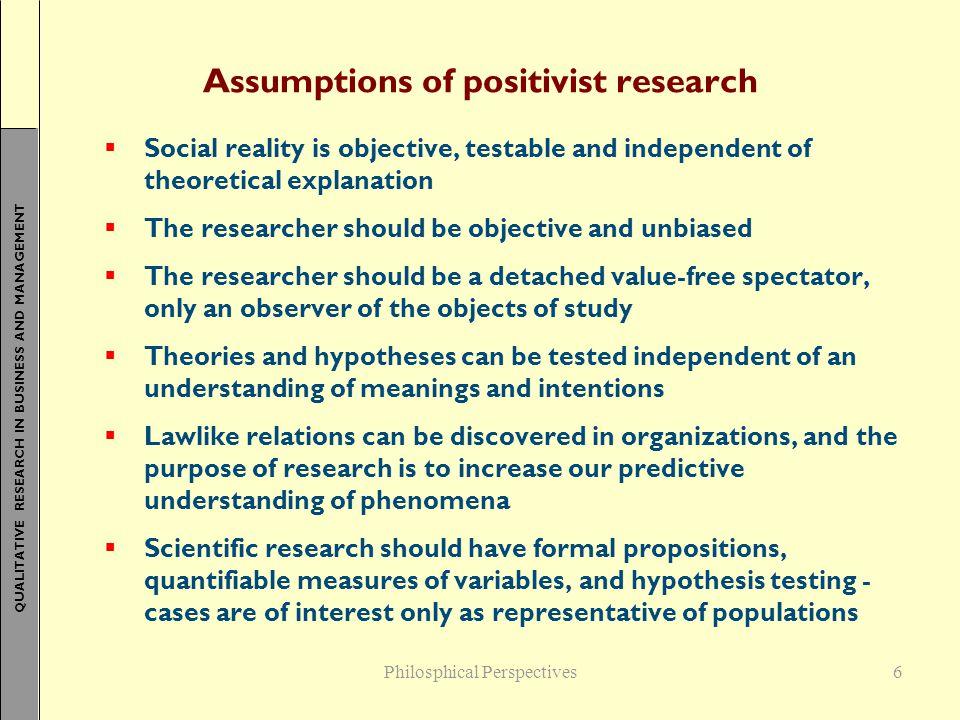 Assumptions of positivist research