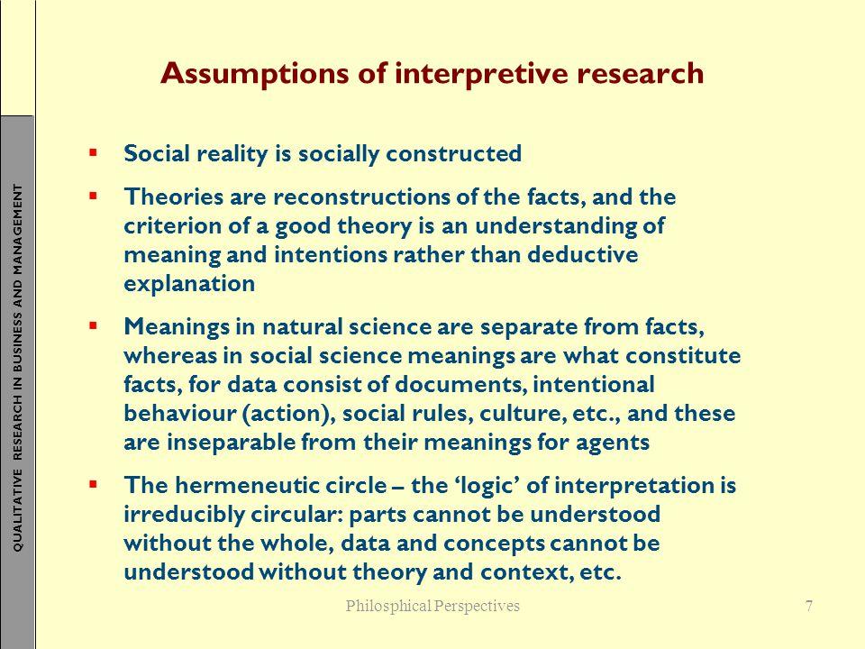 Assumptions of interpretive research