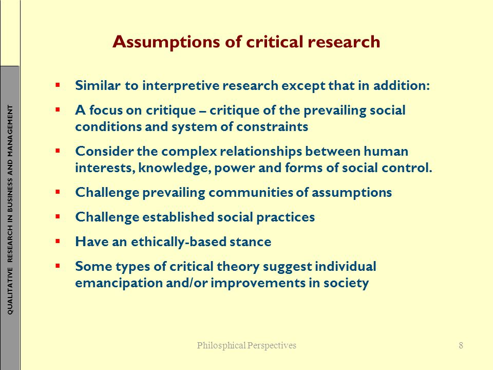 Assumptions of critical research