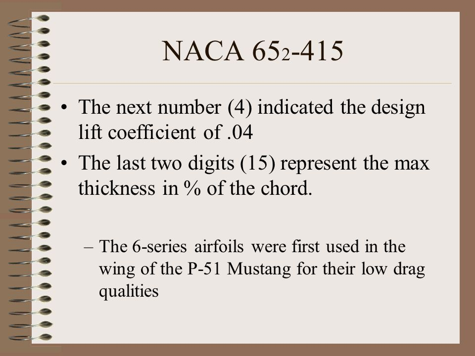 NACA 652-415 The next number (4) indicated the design lift coefficient of .04.