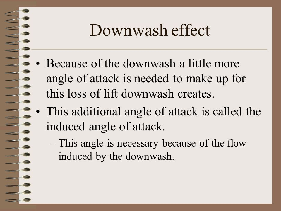 Downwash effect Because of the downwash a little more angle of attack is needed to make up for this loss of lift downwash creates.