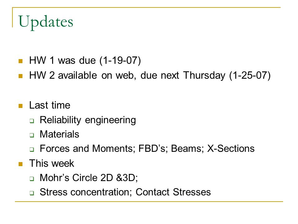 Updates HW 1 was due (1-19-07) HW 2 available on web, due next Thursday (1-25-07) Last time. Reliability engineering.