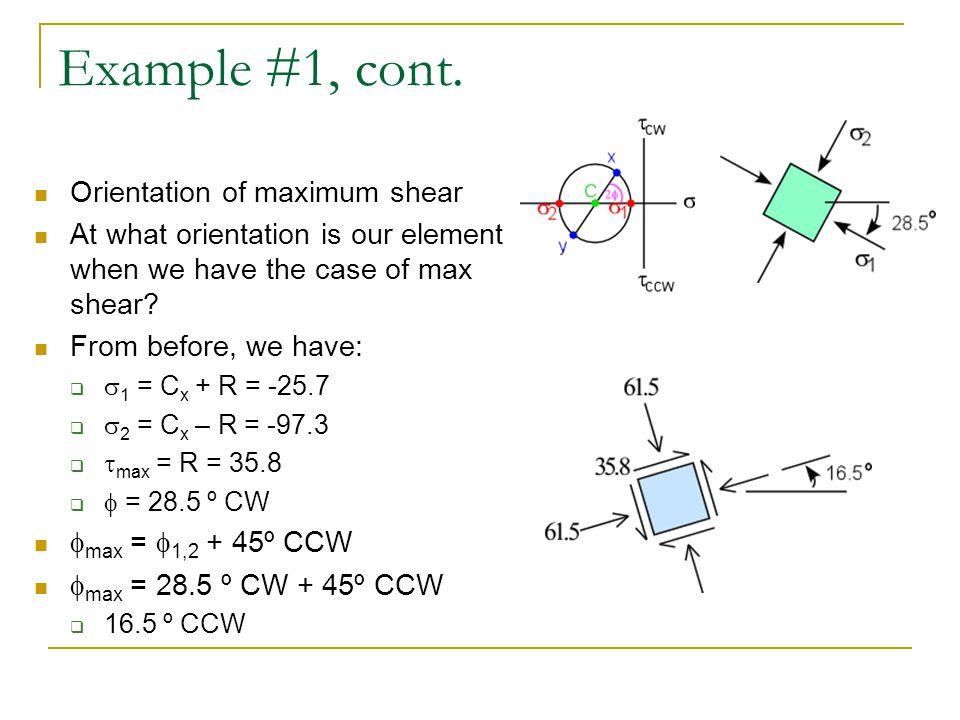 Example #1, cont. Orientation of maximum shear