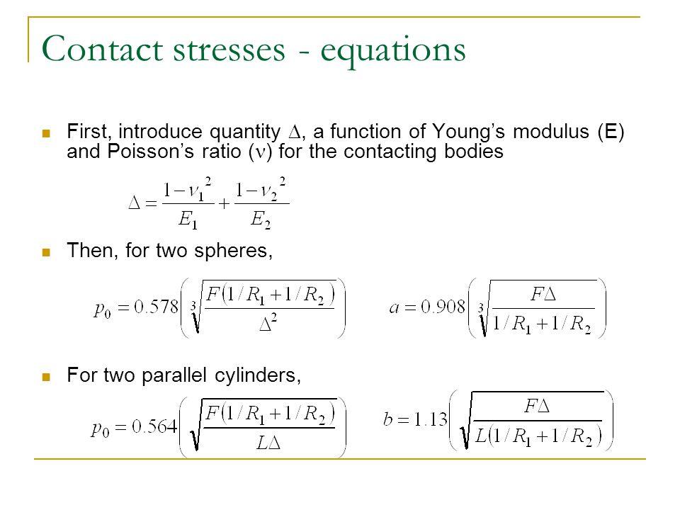 Contact stresses - equations