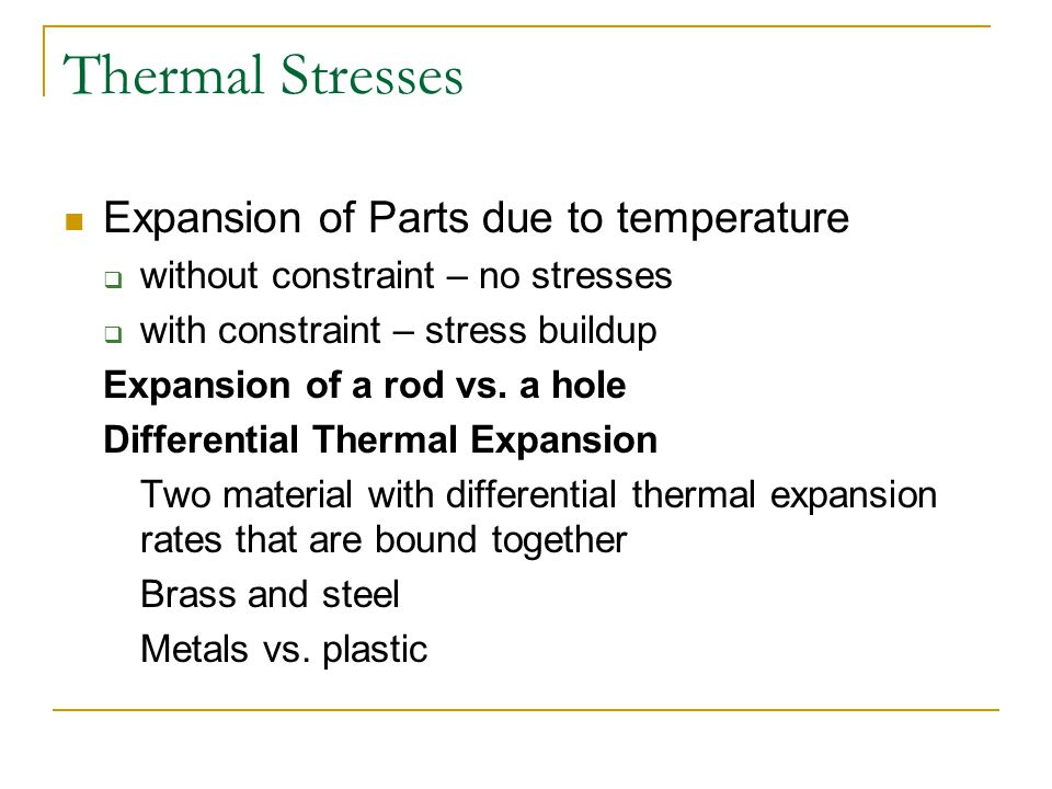 Thermal Stresses Expansion of Parts due to temperature
