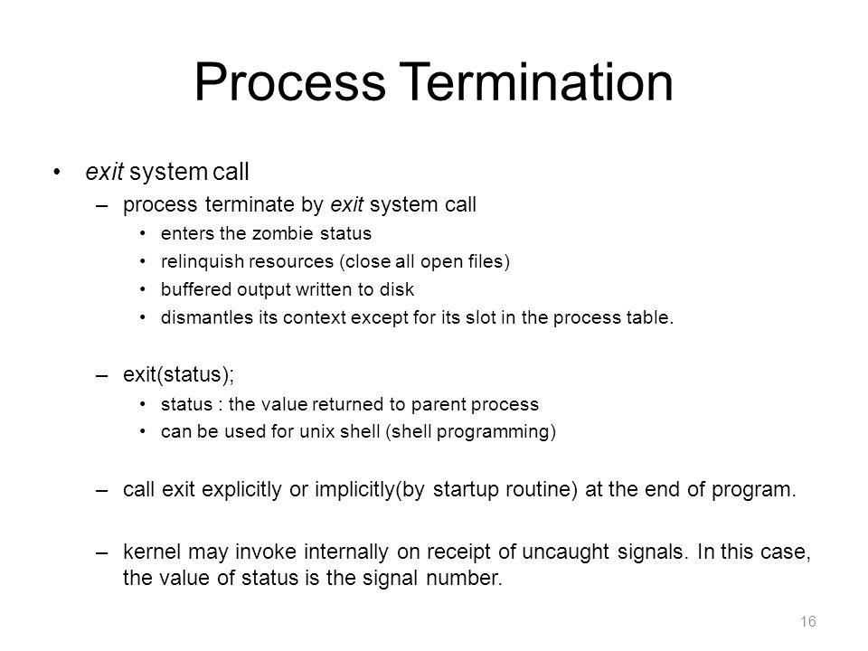 Process Termination exit system call