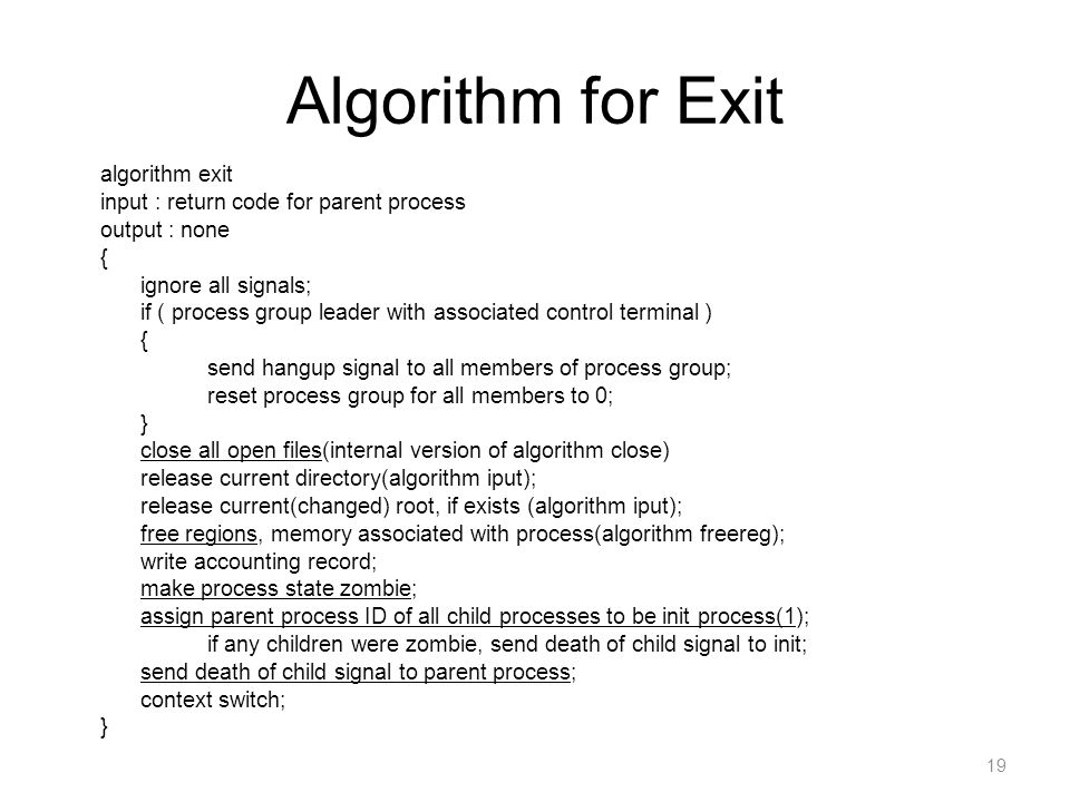 Algorithm for Exit algorithm exit