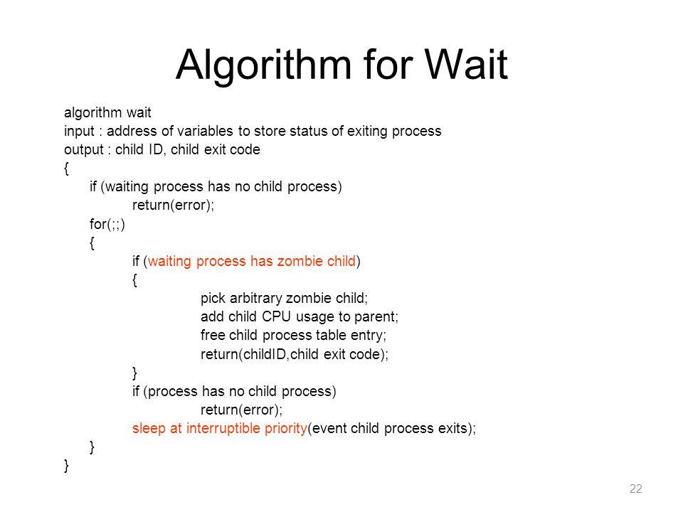Algorithm for Wait algorithm wait